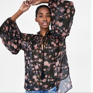 NWT Zara Woman Premium Collection Floral Blouse